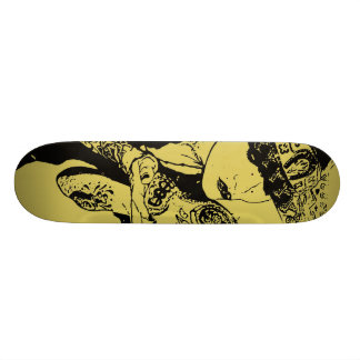 Girl Kisses Skull Skate Deck