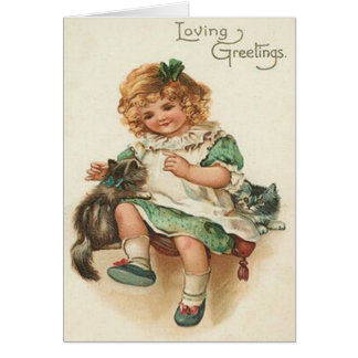 Girl Kitten Cat Birthday Greeting Card