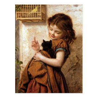Girl Kitty Cat Bird - Vintage Painting Post Card