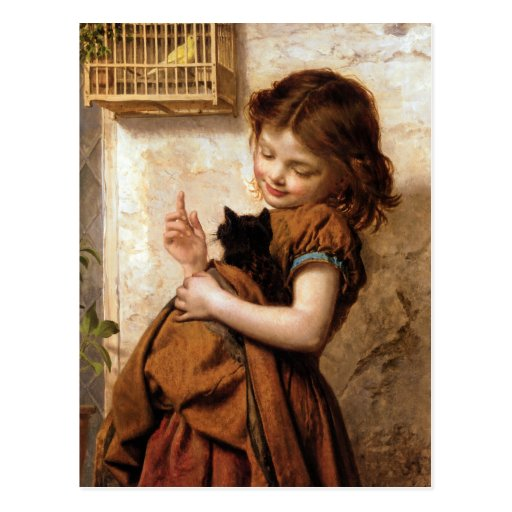 Girl, Kitty Cat & Bird - Vintage Painting Post Card