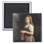 Girl Knitting, 1854 Square Magnet