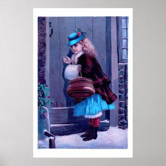 Girl Knocking at Door Vintage Painting Poster