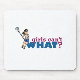 Girl Lacrosse Player Blue Uniform Mouse Pad