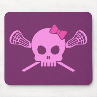 Girl Lacrosse Skull Mouse Pad