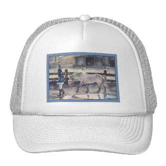 Girl Leading Her Pony Artwork Hats