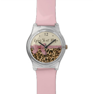 Girl Leopard Print Baby Pink Bow Wrist Watch