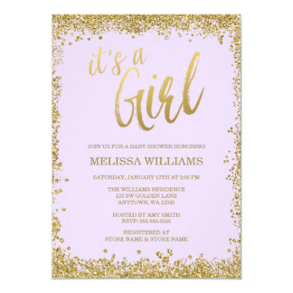 Girl Lilac Purple Faux Gold Glitter Baby Shower 13 Cm X 18 Cm Invitation Card