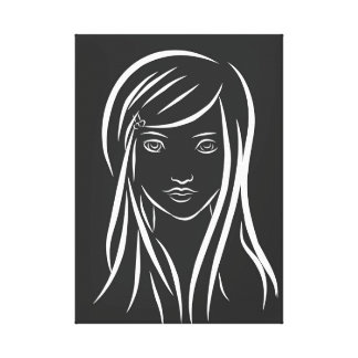 Girl Line Drawing Canvas