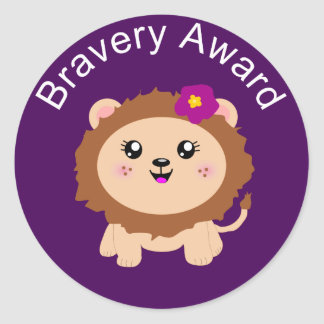 Girl Lion Bravery Award - Sticker for being brave