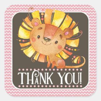 Girl Lion Thank You Sticker