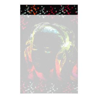Girl Listening Music Headphones Neon Colors Gifts Custom Stationery