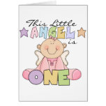 Girl Little Angel 1st Birthday Tshirts and Gifts Greeting Card