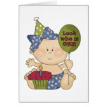 Girl Look Who's One Birthday Tshirts and Gifts Card