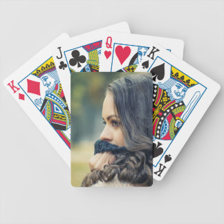 girl-looking-away bicycle playing cards
