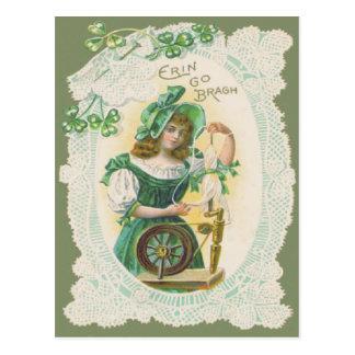 Girl Loom Doily Shamrock Clover Postcard