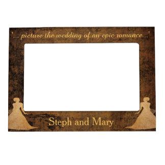 Girl Meets Girl Gay Wedding Gift Frame Photo Frame Magnet