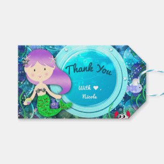 Girl Mermaid Birthday Party Under the Sea Favor Gift Tags