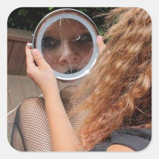 girl mirror makeup broken sticker