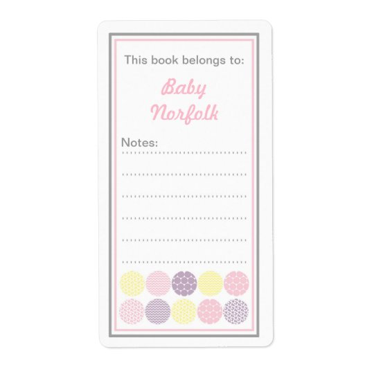 Girl Modern Dot Bookplates with message area