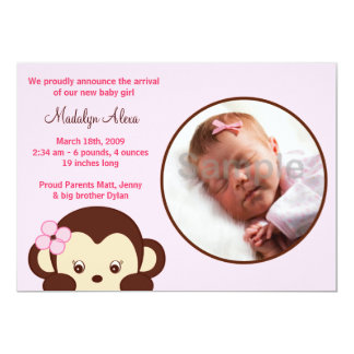 Girl Monkey Custom Photo Birth Announcements