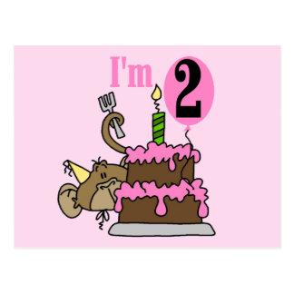 Girl Monkey I'm 2 Birthday Tshirts Postcard