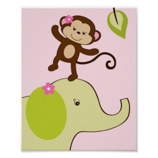 Girl Monkey Jungle Animal Nursery Wall Art Print
