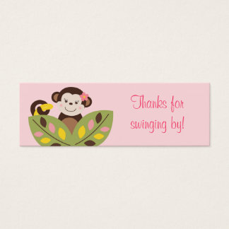 Girl Monkey Jungle Baby Shower Favor Gift Tags