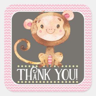 Girl Monkey Thank You Sticker