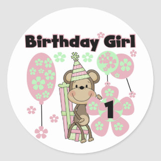 Girl Monkey With Gifts 1st Birthday Tshirts Classic Round Sticker