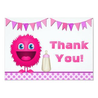 Girl Monster Baby Shower Thank You Card (flat) 9 Cm X 13 Cm Invitation Card