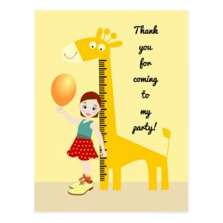 Girl near giraffe ruler Birthday Party Postcard