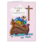 Girl Noah's Ark Baptism, Cute Animals Card