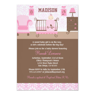 Girl Nursery Baby Shower invitation Pink Brown