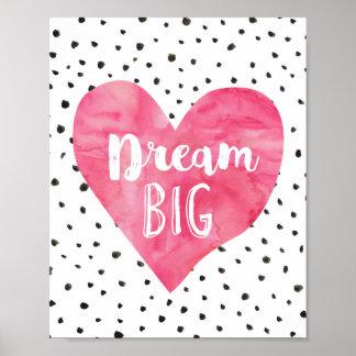 Girl Nursery Decor Watercolor Pink Hearts Poster