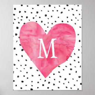 Girl Nursery Monogram Watercolor Pink Heart Poster