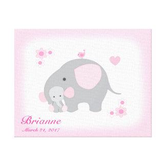 Girl Nursery Safari Elephant Pink Gray Wall Art