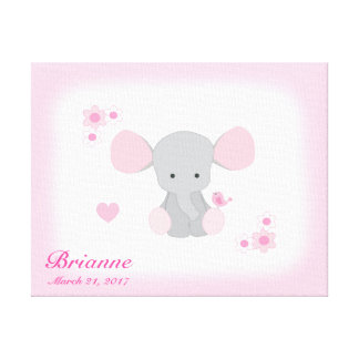 Girl Nursery Safari Elephant Pink Gray Wall Art