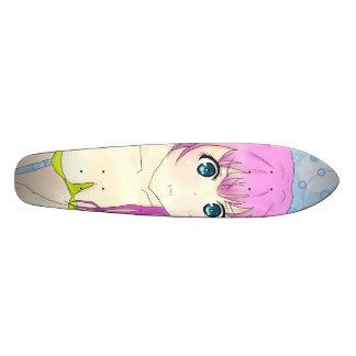 Girl of swimming wear skateboard deck