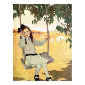 Girl on a Swing Postcard