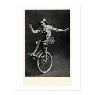 Girl on a Unicycle Postcard
