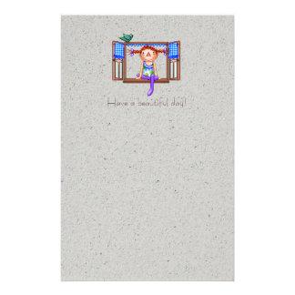 Girl On a Window Sill Pixel Art Stationery