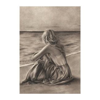 Girl on beach Canvas Print