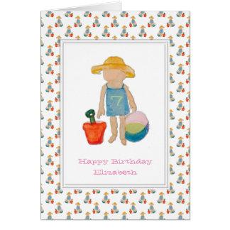 Girl on Beach - Happy 7th Birthday Greeting Card