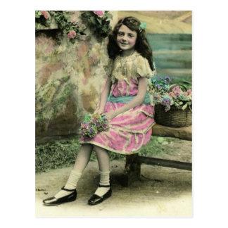 Girl on Bench Postcard