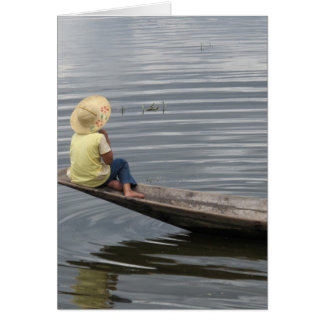 Girl on Boat in Inle Lake Card