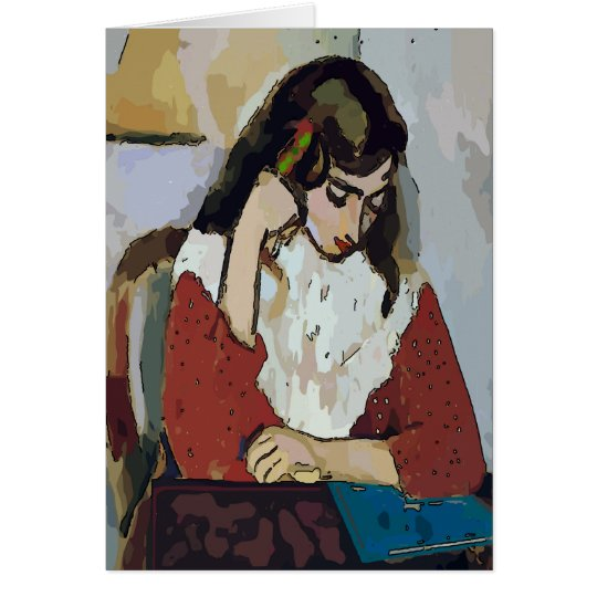 Girl on Computer Tablet in Abstract Matisse Style, Card