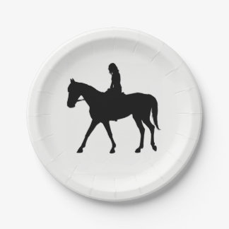 Girl on Horse Paper Plate