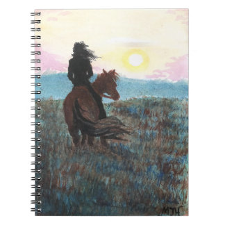 Girl on Horse Peaceful Sunset Notebook Journal