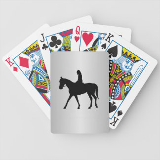 Girl on Horse Silver Bicycle Playing Cards