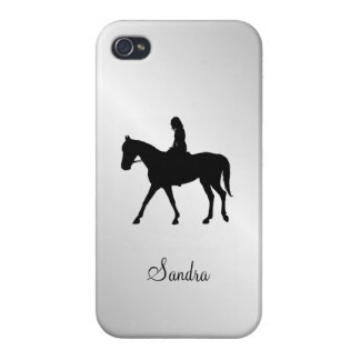 Girl on Horse Silver Cover For iPhone 4